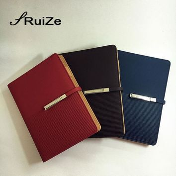 RuiZe 2017 leather spiral notebook planner A5 loose leaf notebook organizer office stationery note book can be refilled