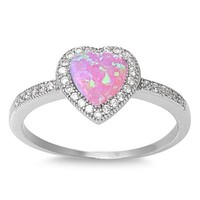 Sterling Silver Created Pink Opal Heart Ring (Size 5 - 10)