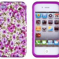 DandyCase 2in1 Hybrid High Impact Hard Lavender Garden Floral Pattern + Purple Silicone Case Cover For Apple iPhone 4S & iPhone 4 + DandyCase Screen Cleaner