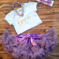 Purple five year old birthday outfit, girl 5th birthday, purple pettiskirt, gold shirt, birthday shirt, 5 year old, white shirt, girls