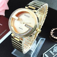 Gucci Ladies Rectangular diamond Watch Wrist Watch Golden