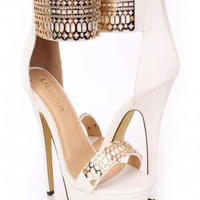 Platform Gold Design Cut White High Heels (Limited)