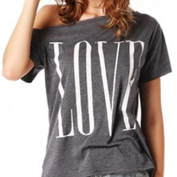 All You Need Is Love Off the Shoulder Tee