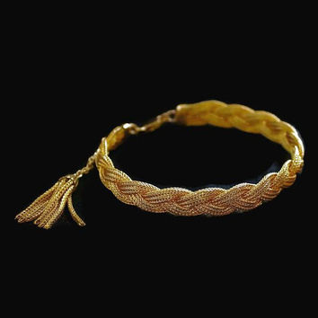 Braided Multi Chain Tassel Bracelet In Gold Tone