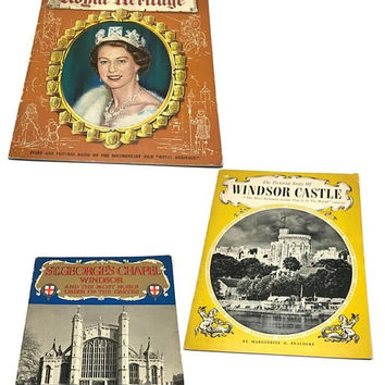 Set of 3 Pitkin Pictorial Souvenir, British Royalty Memorabilia, Early 1950s, Royal Family