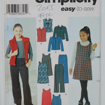 Simplicity 4839 Easy-To-Sew (c.2000)Girls' Sizes 7-16, Sewing Pattern Girls' Jacket, Vest, Pants and Jumper, Versatile, School, Casual