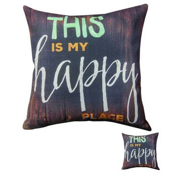 "Set of 2 Climaweave ""This is My Happy Place"" Pillows"