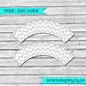 Silver Grey and White Chevron Printable Cupcake Wrapper Set – DIY printable party supplies – birthdays & showers - INSTANT DOWNLOAD