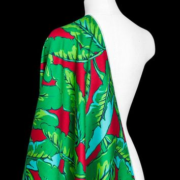 Silk wool cloth green banana leaf printing and dyeing red silk wool linen fabric thick spring sleeveless vest skirt fabric