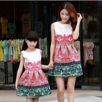 DCCKHG7 2016 Denim Jacket Sleeveless Dresses Family Look Matching Mother Daughter Clothes Dress Family Matching Outfits