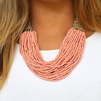 Multi Beaded Chain with Mesh Necklace