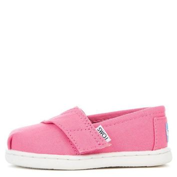 MDIGH3W Tiny Toms Classic Bubblegum Pink Canvas Flat