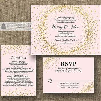 Best Pink And Gold Wedding Invitations Products On Wanelo