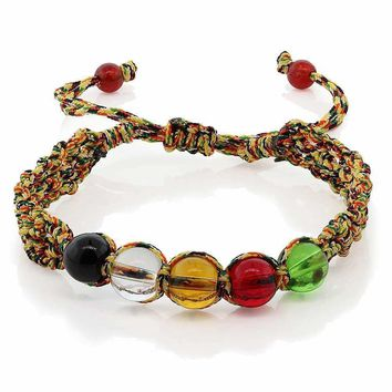 "7"" Braided Fabric String with Multi Color Crystal Adjustable Friendship Bracelet"
