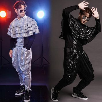 S-6XL!!!   2018  Club bar male singer drum jazz dance costume personality sequins wear the rain god haroon pants