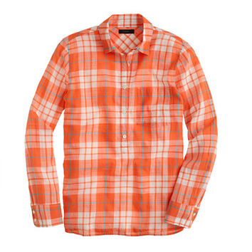 J.Crew Womens Petite Gauzy Popover Shirt In Orange Plaid