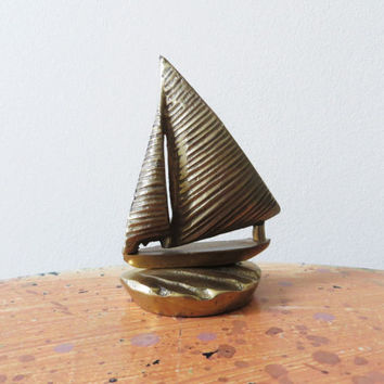 70s Brass Sailboat Figurine Paperweight Small Nautical Decor