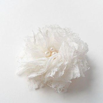Lace Flower Hair Clips, Fabric Flowers Hair Accessories, Off White Lace Flower Hair Pieces