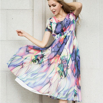 Floral Print Short-Sleeve A-Line Chiffon Maxi Dress