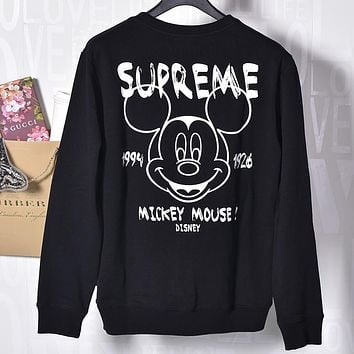 Supreme & Mickey Mouse Autumn and winter new fashion bust mouse print embroidery letter back letter mouse number print couple loose leisure sweater Black