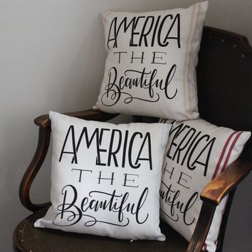 America The Beautiful Handmade Pillow - 3 Color Options