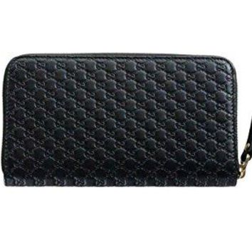 Gucci Wallet Microguccissima Leather Continental Zip Around Wallet Black Italy New