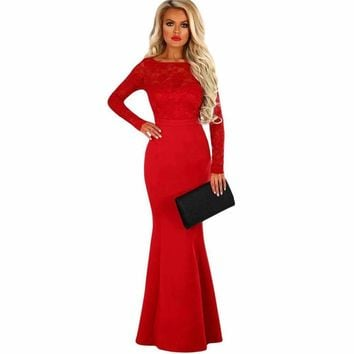 Red Lace Long Sleeve Bow Back Maxi Dress