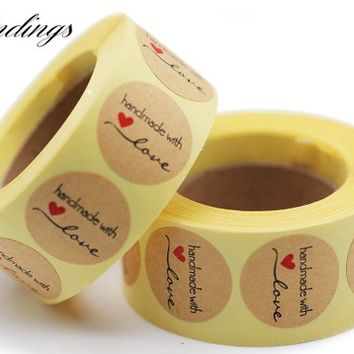 Handmade With love Stickers Roll Sticker Seal Gift Sticker Kraft Paper Adhesive Label 1inch Round/Round, Sold by 500pcs
