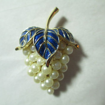 Pin Faux Pearls Cluster of Grapes Enamel Signed Crown Trifari Wine Tasting Attire Vintage Brooch