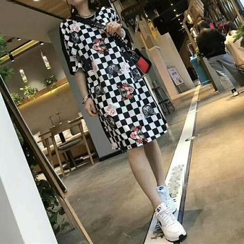 """Gucci"" Women Loose Casual Personality Multicolor Tartan Cat Head Print Short Sleeve T-shirt Dress"