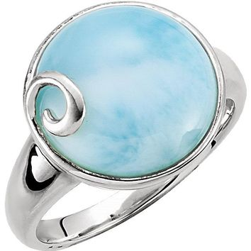 Sterling Silver Round Larimar Wave Design Ring