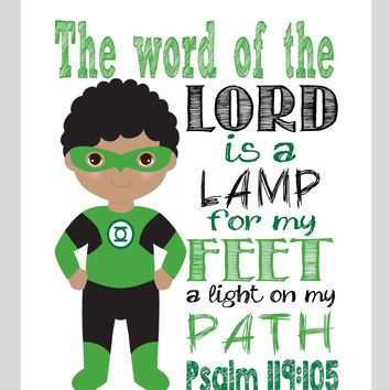 African American Green Lantern Christian Superhero Nursery Decor Wall Art - The word of the Lord is a Lamp for my Feet - Bible Verse - Multiple Sizes