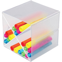 Deflecto 350201 Office or School Cube W/ X Dividers - Clear