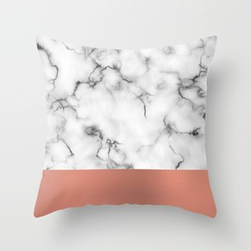 Marble & copper Throw Pillow by Will Wild