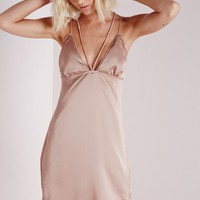 Missguided - Satin Strappy Bodycon Dress Mauve