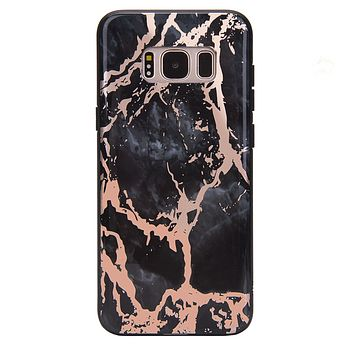 Black Marble Rose Gold Chrome Samsung Galaxy Case