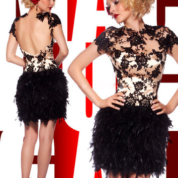 fashion sexy black short  prom dress 2016 backless appliques lace Feathers women pageant gown  for formal evening party