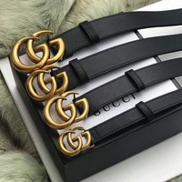 GUCCI Fashion Women Men Simple Smooth Buckle Leather Belt I/A