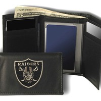Rico Oakland Raiders Embroidered Leather Trifold Wallet