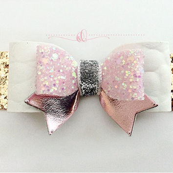 Girls Light pink and white leather Glitter Hair Bow, Easter Pink Sparkly HairClip, Leather Bow, Spring Easter hair accessories Baby Headband