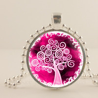 "Hot pink and white tree, 1"" round glass and metal Pendant necklace Jewelry."
