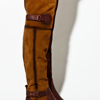 Brown Leather Over the Knee Boots | Thrifted & Modern