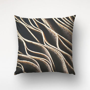 Brown Abstract Throw Pillow, Mushroom Decor, Macro Photography, Living Room Decor