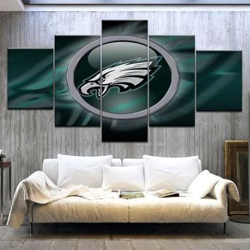 5Panel HD Printed Philadelphia Eagles logo rugby sport wall posters Print On Canvas Art Painting For home living room decoration