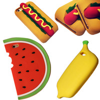 New 3D Hot Dog Banana Watermelon Soft Silicon Phone Case For Iphone 6 6S 5 5S SE Phone Back Cover