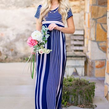 Navy Penelope Striped Maxi Dress