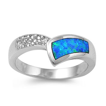 Sterling Silver Pointed Tiara Style 8MM Blue Lab Opal Ring