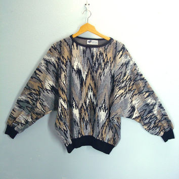 Vintage 80s Slouchy Top Sweater / Dolman Sleeves / Soft Knit