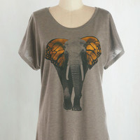 Mid-length Short Sleeves Butterfly Believe It Top