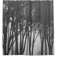 Dark Foggy Woods Shower Curtain